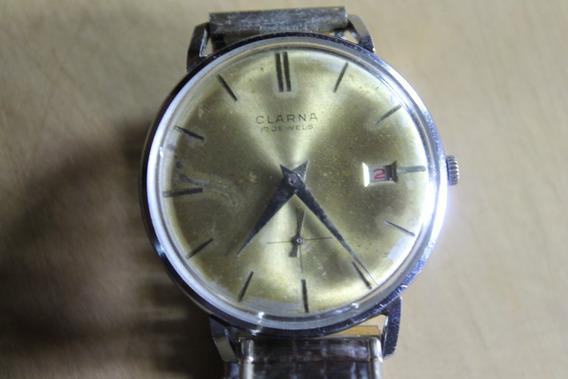 Reloj Suizo Vintage De Cuerda Marca Clarna 17 Jewels