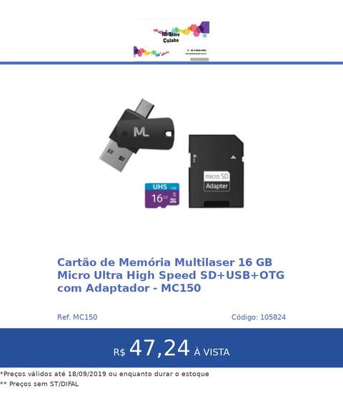 Cartão De Memória Multilaser 16 Gb Micro Ultra High Speed Sd