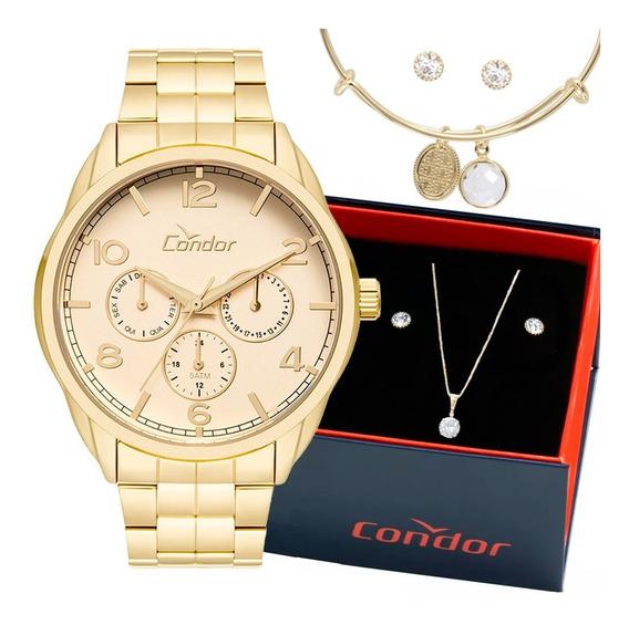 Relógio Condor Feminino Co2035kxv/k5k + Pulseira E Brincos