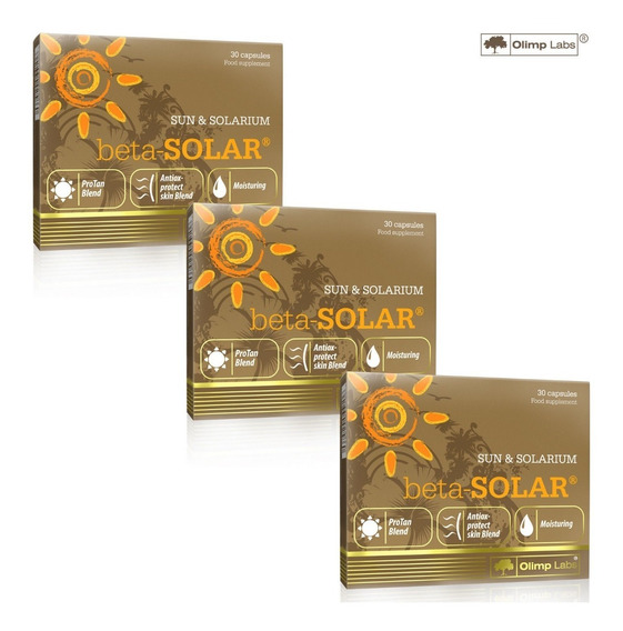 Kit Com 3 Beta Solar - 30 Cápsulas,para Um Bronzeado Bonito