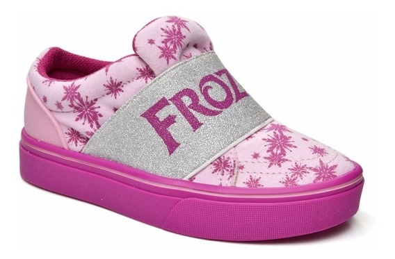 Tenis Infantil Menina Frozen Rosa Grendene Elsa Anna Elastico Original Oficial Slip Sem Cadarço