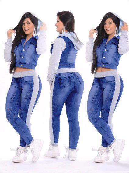 3 Conjuntos Calça Jeans + Jaqueta Jeans Com Moletom E Capuz