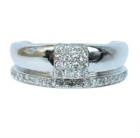 Pocao2005- Anel Ouro Branco 18k Diamantes 12x S/j Ft/gt 2256