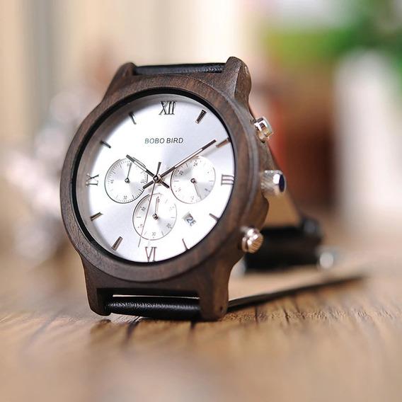 Relógio Unissex Madeira Analógico Bobo Bird P281
