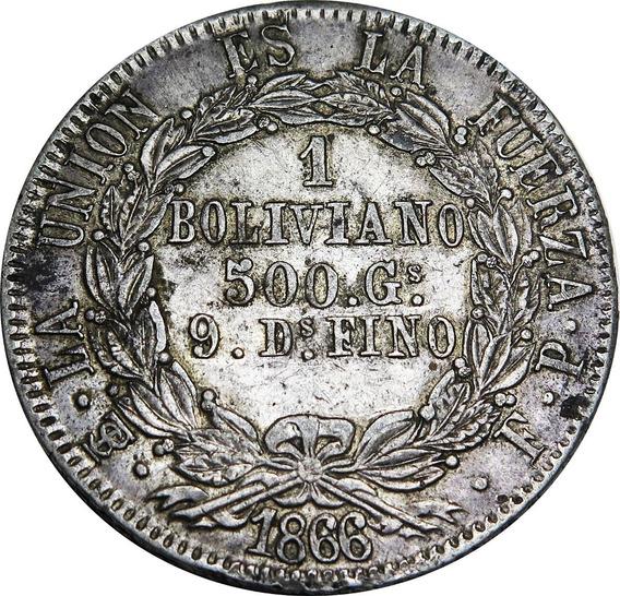 .: Bolivia 1 Boliviano 1866 - Corona - Plata :.
