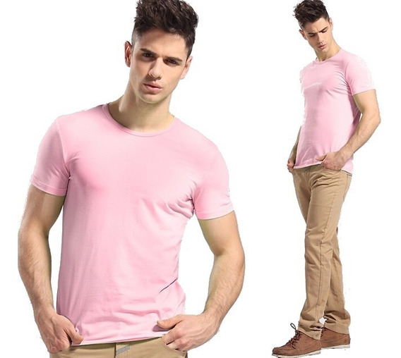 Kit Com 05 Camisa Slim Fit Camiseta Lisa - Masculina Ref 107