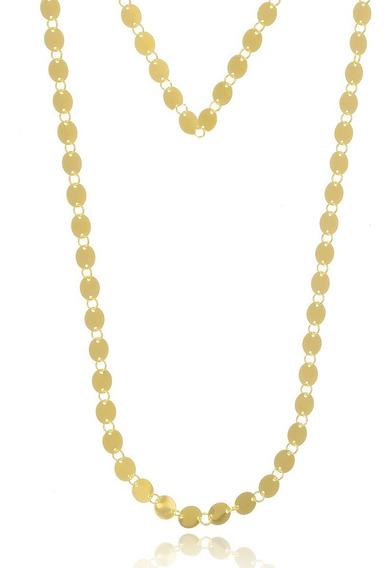 Colar Longo Medalhas Banhado A Ouro Semijoia
