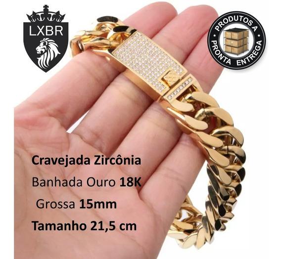 Pulseira 21,50cm Cravejada Fecho Zirconia 15mm Ouro 18k Dourada Hip Hop Ice Out Ostentação Funk Mc Neymar Lxbr Bl47