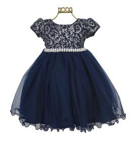 Vestido Infantil Festa Azul Marinho Prata Cinto Luxo B796