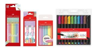 Caneta Brush Pen - Lápis - Marca Texto Pastel Faber Castell