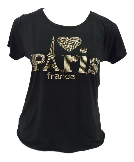 Blusa Aplicação Pedraria Paris France Viscolycra Plus Size
