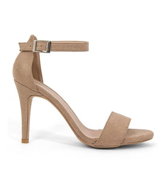 Sandalias Zapatos Dama Tacon Alto Aguja Gamuza Negro 9111