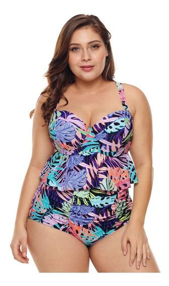 Bikini Talla Extra Estampado Calzon Alto Y Escote 410756