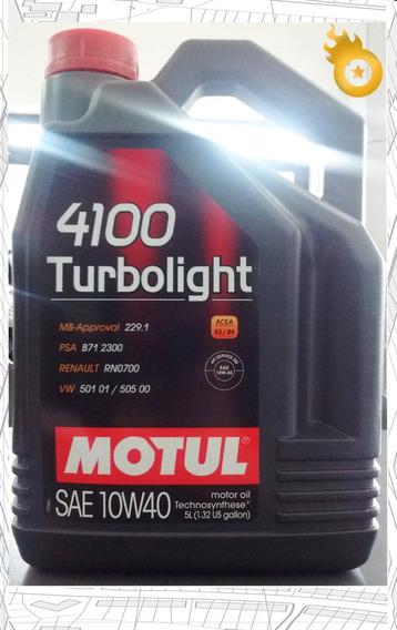 Aceite Motul 4100 Turboligth 10w40 X 5 Sin Filtro Motovega