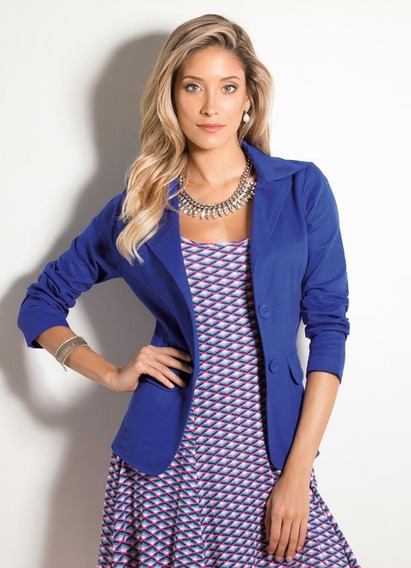 Blazer Clássico Em Sarja Azul