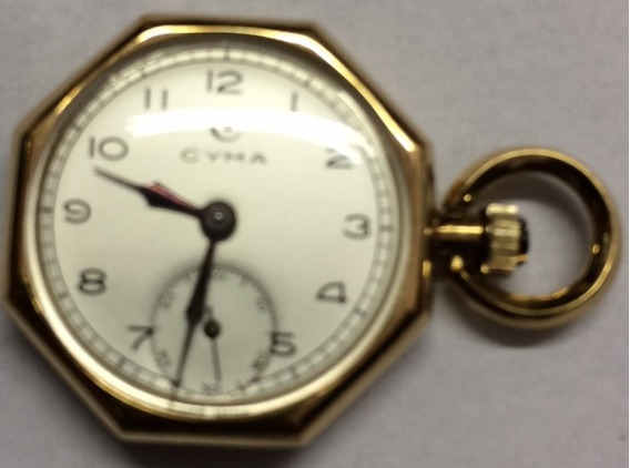 Relógio De Bolso Cyma Caixa Em Ouro Vintage