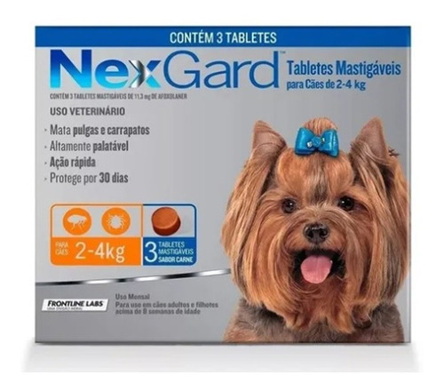 Nexgard Para Cães De 2a4 Kg - 3 Tabletes + Brinde