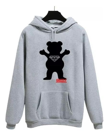 Blusa Moletom Grizzly Diamond Urso Casaco Frio Canguru Grey