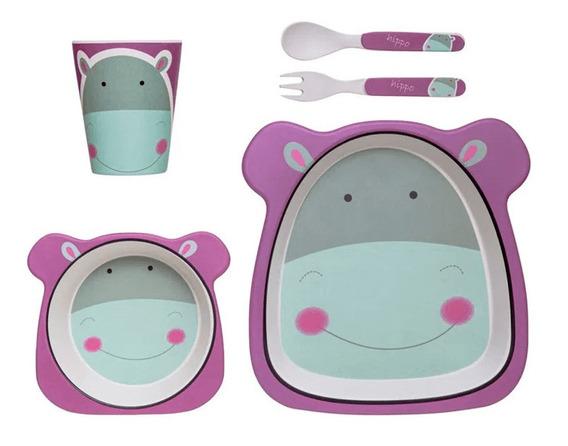 Kit Refeição Infantil 5p Prato Tigela Copo Talher Hipopótamo