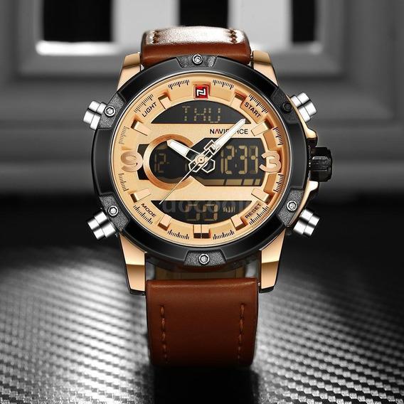 Relógio Masculino Naviforce Original Em Couro Frete Grátis