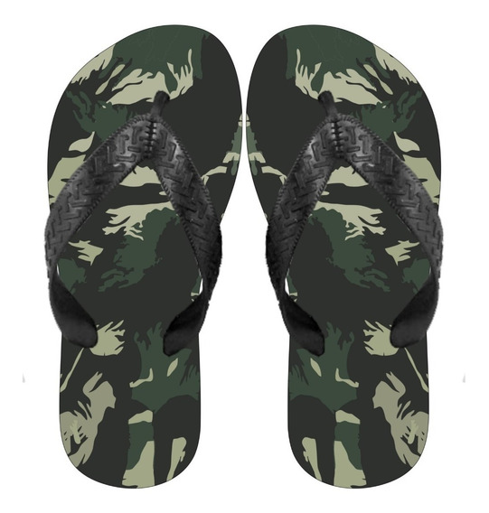 Chinelo Personalizado Camuflado Verde Exercito
