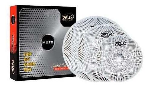 Imagem 1 de 4 de Kit De Prato Mudo Zeus Set Mute 14, 16 E 20 Set-c Estudo