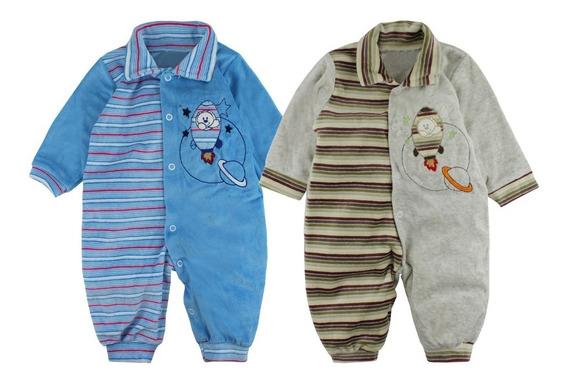 Macacão Em Plush Macio Para Bebê - Urso Foguete - Inverno