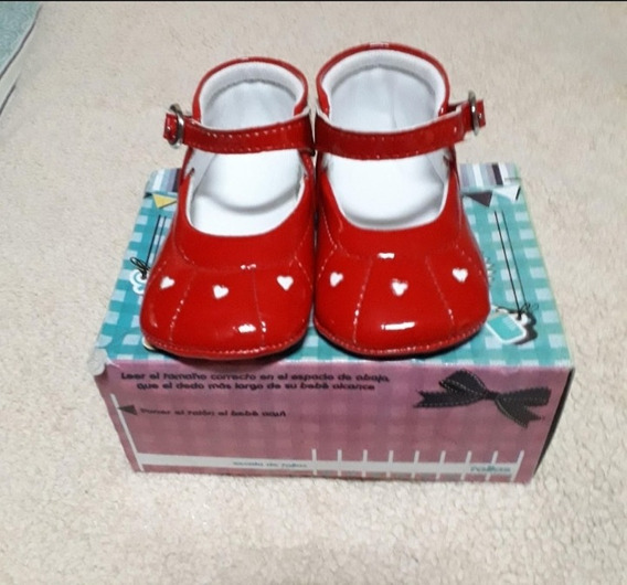 Zapatos De Niña De Patente Rojo Acolchados Talla 18
