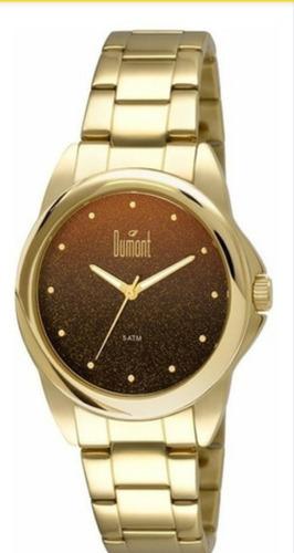 Relógio Feminino Dumont Dourado Fundo Marrom Du2035lnu/4p