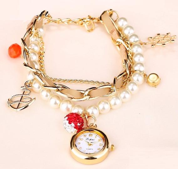 Pulseira Bracelete Relógio Com 20cm De Pérolas Mar Navegação