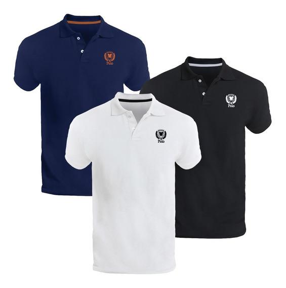 Kit Três Camisas Polo Piquet Slim Fit Brasão - Polo Match
