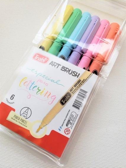 Marcador Trabi Art Brush Punta Pincel Pastel Lettering X6