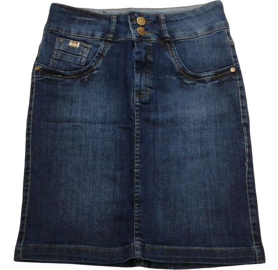 Saia Jeans Coz Alto Lycra Secretaria Tam Plus Size 44 Ao 52