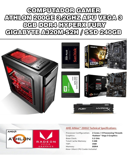 Pc Gamer Ryzen Athlon 200ge 3,2 Ghz 8gb A320m Am4 Ssd 240gb