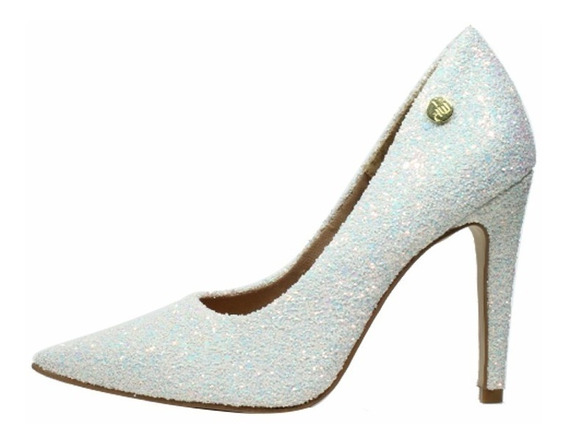Scarpin Salto Alto Week Shoes Glitter Furtacor Branco