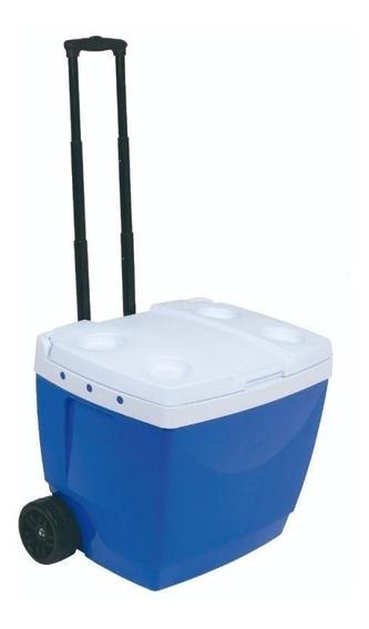 Caixa Térmica Cooler 42 Litros Com Rodas E Alça Azul Mor