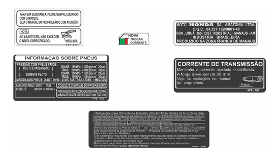 Adesivos De Advertência Xr 250 - Tornado - Honda - F Grátis