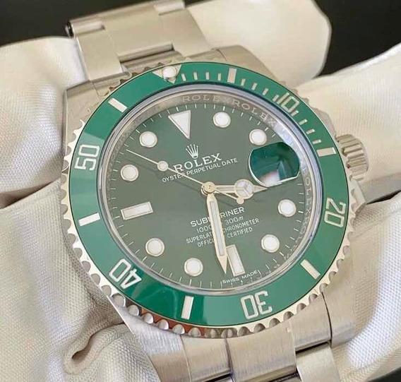 Relógio Masculino Modelo Submariner Estilo Rolex Fundo Verde