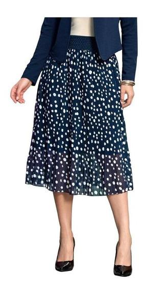 Falda Dama Mujer Larga Casual/formal Marino Circular Comoda