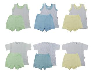 Roupas De Bebê Kit 6 Conjuntos Ribana Canelada Menino