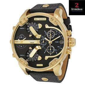 Relógio Diesel Dourado Pulseira De Couro Dz7371/0pn