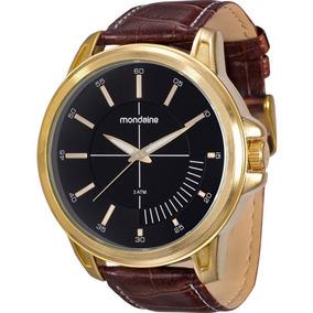 Relógio Pulseira De Couro Original Mondaine Folhado A Ouro