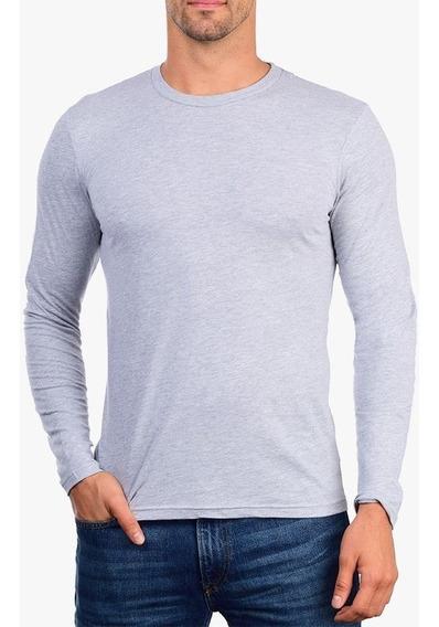 Camiseta Manga Longa Lisa Masculina 100% Algodão 30.1 Básica