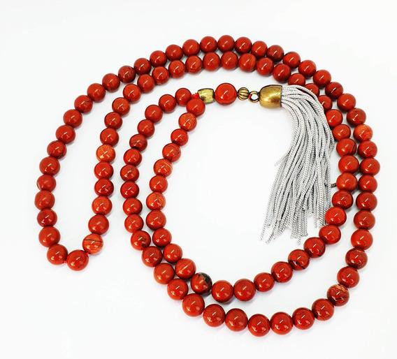 Japamala Jaspe Vermelho 108 Contas Natural Meditação Oferta