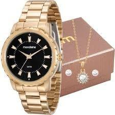 Kit Relógio Mondaine Feminino Com Colar 99110lpmvde1k2