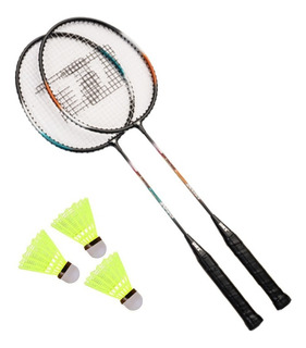 Kit 2 Raquetes Badminton 1010 + Capa + 3 Petecas