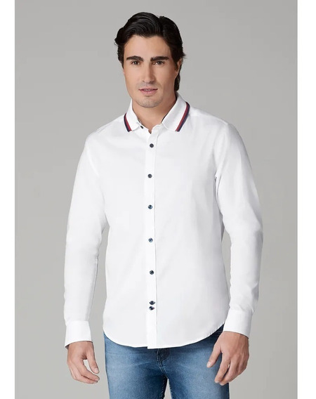 Camisa Hombre Cuello Tipo Polo Blanco Slim Juvenil 1388350