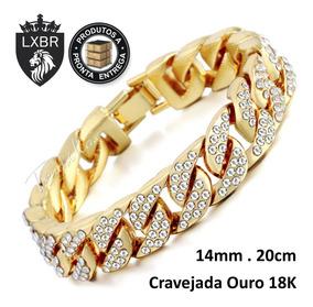Pulseira 20cm 14mm Ouro 18k Cravejada Hip Hop Corrente Bl40a