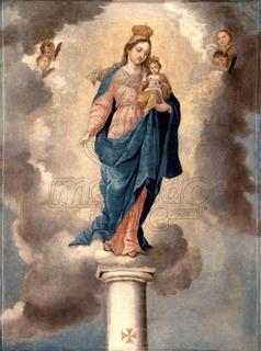 Lienzo Tela Canvas Arte Sacro Virgen Del Pilar Jose Campeche