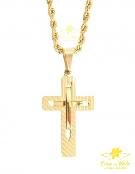 Colar Dourado Com Cruz Vazada - Preço Atacado